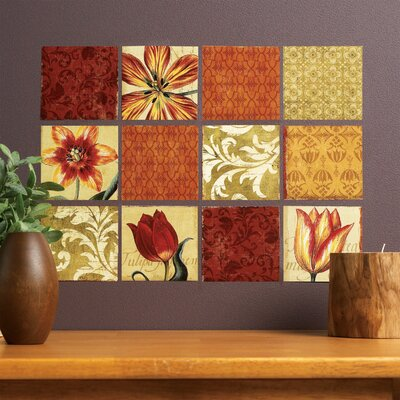 Wallies Tulip Medley Vinyl Wall Decals in Brown