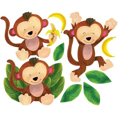 Wallies Baby Monkeys Peel and Stick Wall Stickers