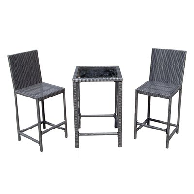 Wicker Bar Height Bistro Set