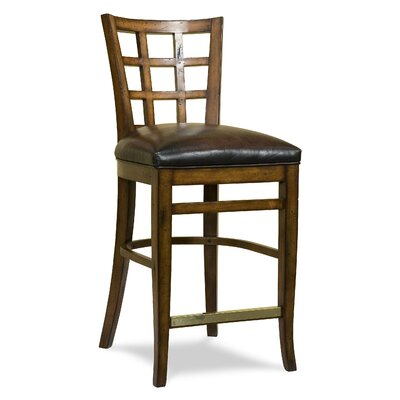 Leather Seat Divided Back Counter Stool (Set of 2)