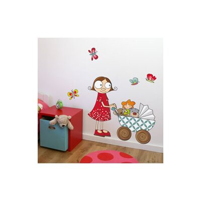 ADZif Ludo Lil' Girl with Carriage Wall Decal
