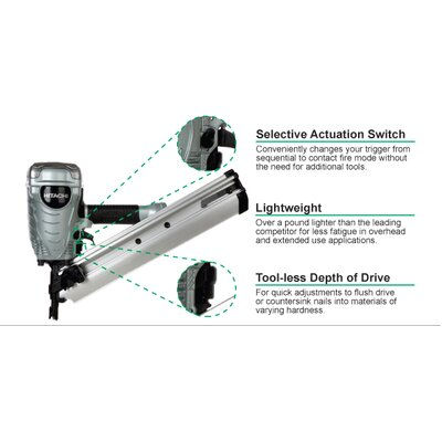 "Hitachi 3-1/2"" Paper Collated Framing Nailer"