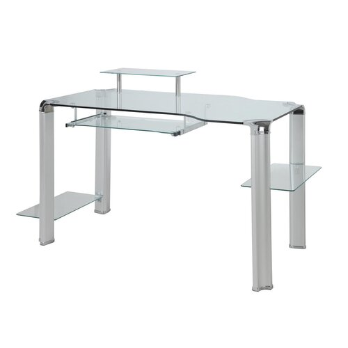 Innovex Glass Computer Desk with Tower Shelft
