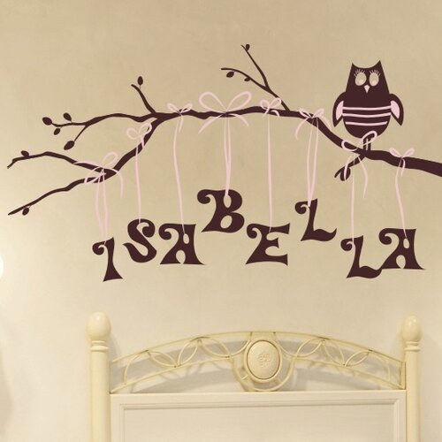 Alphabet Garden Designs Personalized Owl on Branch Wall Decal