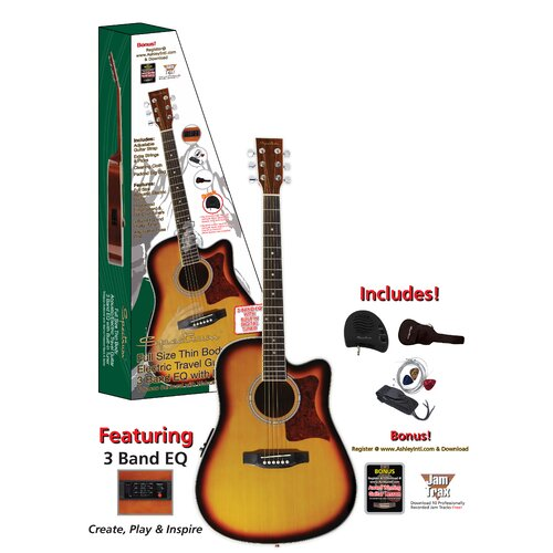 Ashley Entertainment Corporation Spectrum Thin Body Travel Acoustic Electric Guitar with 3 Band EQ