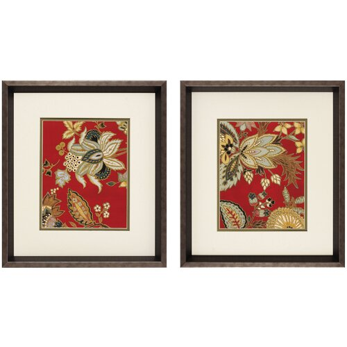 Red Floral I/II 2 Piece Framed Painting Print (Set of 2)