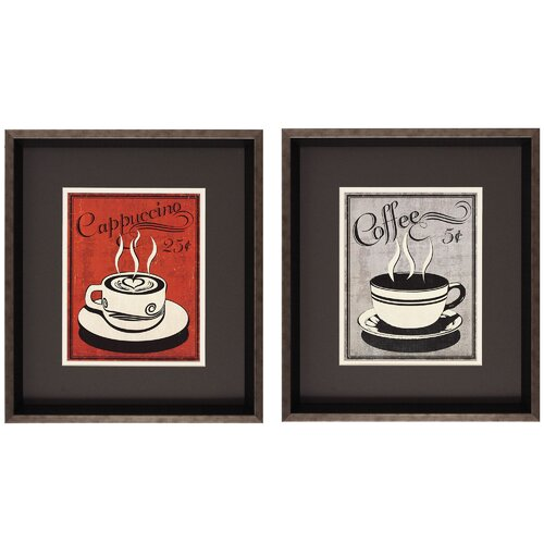 Retro Coffee I/III 2 Piece Framed Painting Print (Set of 2)