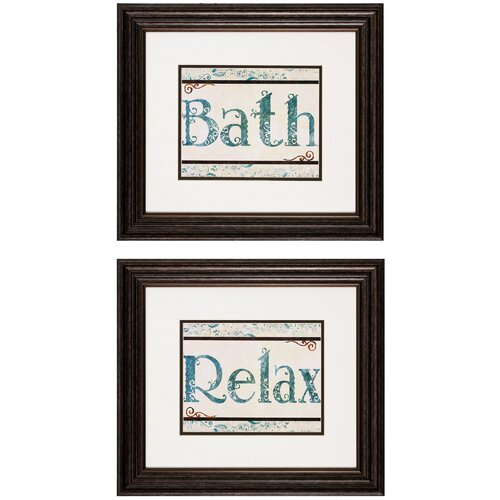 Bath / Relax 2 Piece Framed Textual Art Set (Set of 2)