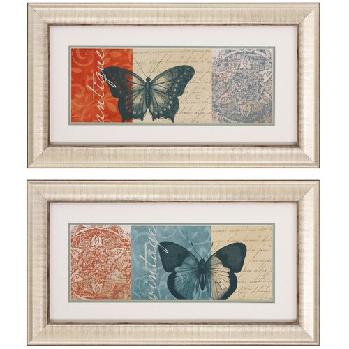 Antique / VIntage 2 Piece Framed Graphic Art Set (Set of 2)
