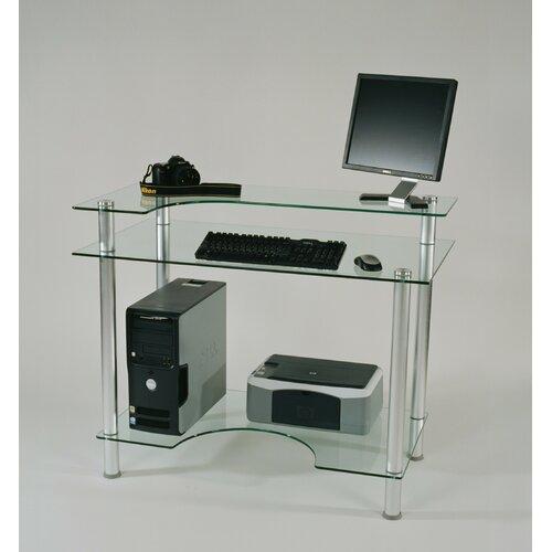 "Tier One Designs 43"" W Glass Computer Desk"