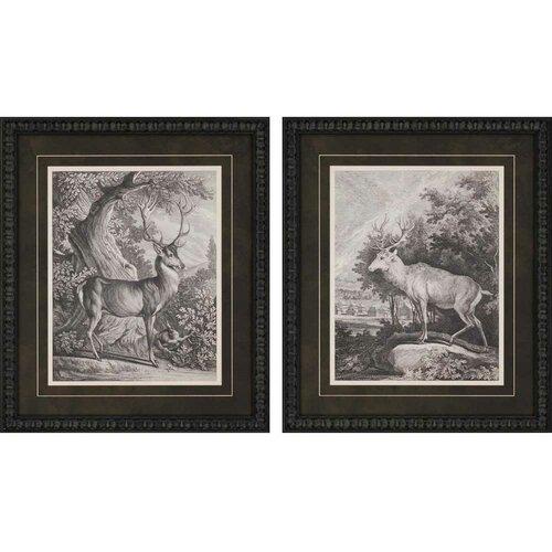 Woodland Deer I Giclee by Ridinger 2 Piece Framed Painting Print Set