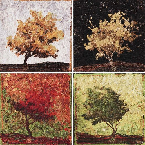 Maples by Roy 4 Piece Painting Print on Canvas Set