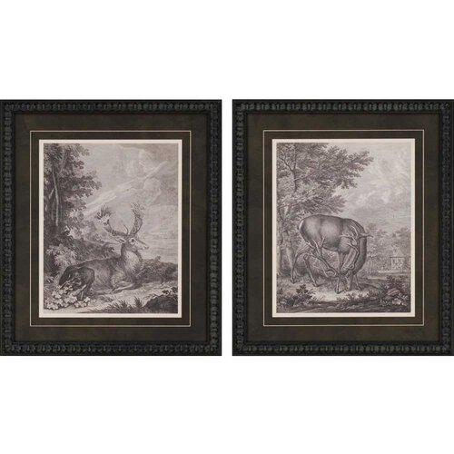 Woodland Deer II Giclee by Ridinger 2 Piece Framed Painting Print Set
