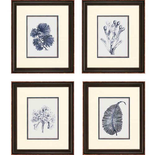 Indigo Kelp 4 Piece Framed Painting Print Set