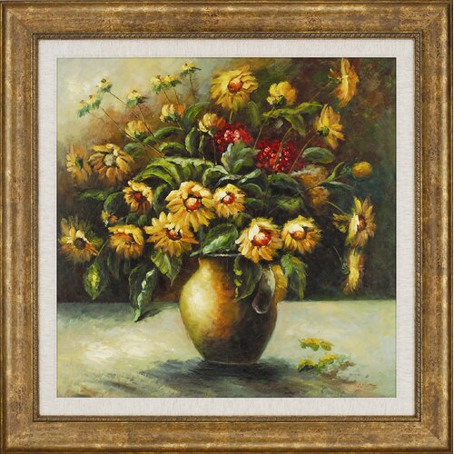 Paragon Vase of Sunflowers Framed Painting Print
