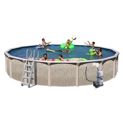 Heritage Pools Round Galveston Above Ground Pool with Cartridge Filter