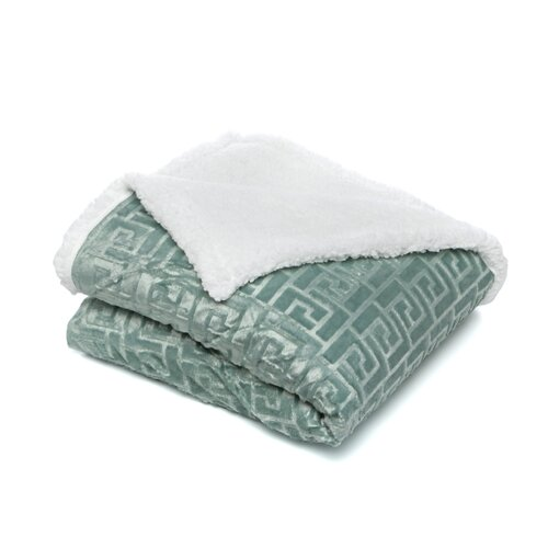 Textiles Plus Inc. Mink Greek Key Textured Sherpa Throw