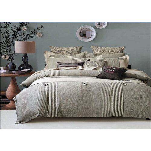 Buttons Stripe 7 Piece Duvet Cover Set