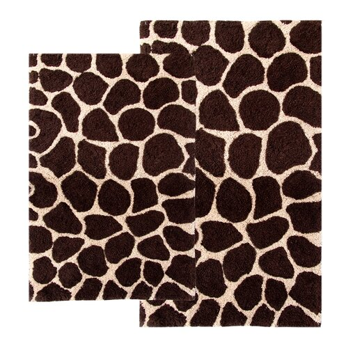 Chesapeake Merchandising Inc. Safari Giraffe Contemporary Bath Rug (Set of 2)