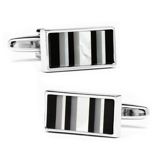Silver Plated Mother of Pearl Barcode Cufflinks