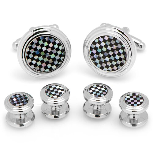 Ox and Bull Onyx and Mother of Pearl Checker Stud Set