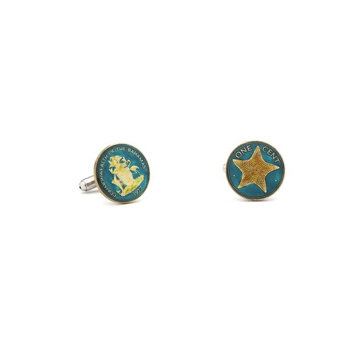 Penny Black 40 Hand Painted Bahamas Two-Sided One Cent Coin Cufflinks