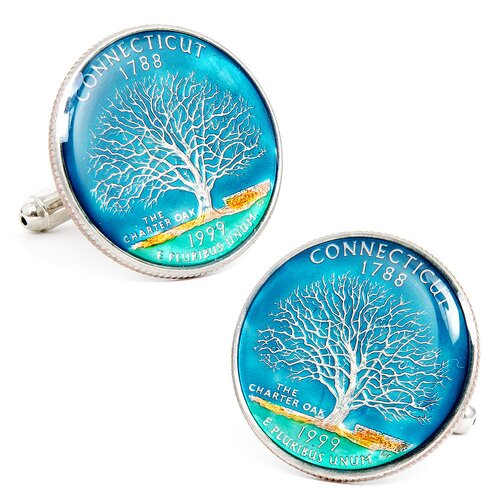 Penny Black 40 Hand Painted Connecticut State Quarter Cufflinks