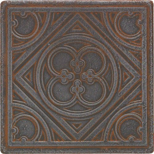 """Daltile Castle Metals 4-1/4"""" x 4-1/4"""" Clover Decorative Wall Tile in Wrought Iron"""