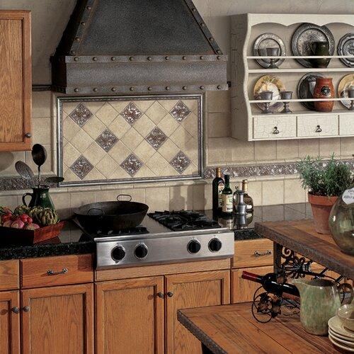 """Daltile Metal Signatures Trellis 4-1/4"""" x 4-1/4"""" Decorative Tile in Aged Iron"""