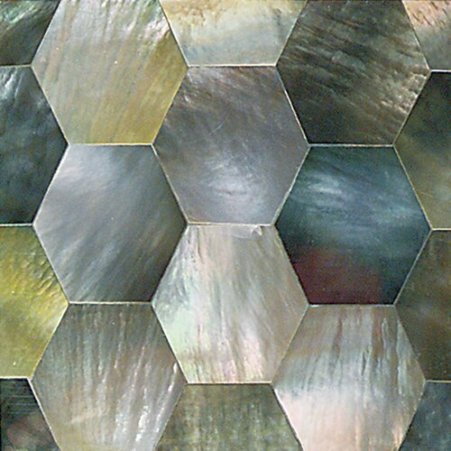 "Daltile Ocean Jewels 2"" x 2"" Hexagon Accent Tile in Black Lip"