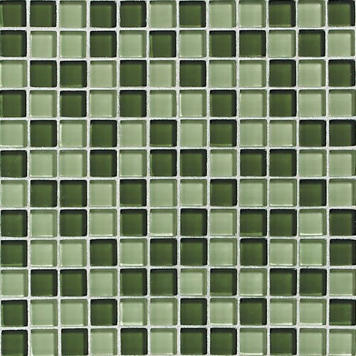 """Daltile Glass Reflections 1"""" x 1"""" Glossy Mosaic Tile Blend in Rain Forest"""