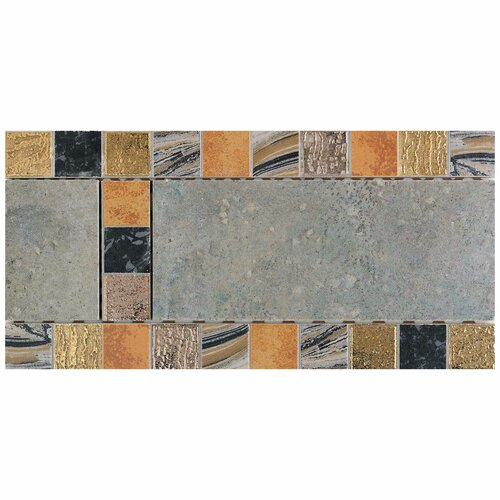 "Daltile Terra Antica 12"" x 6"" Decorative Accent Border in Celeste / Grigio"