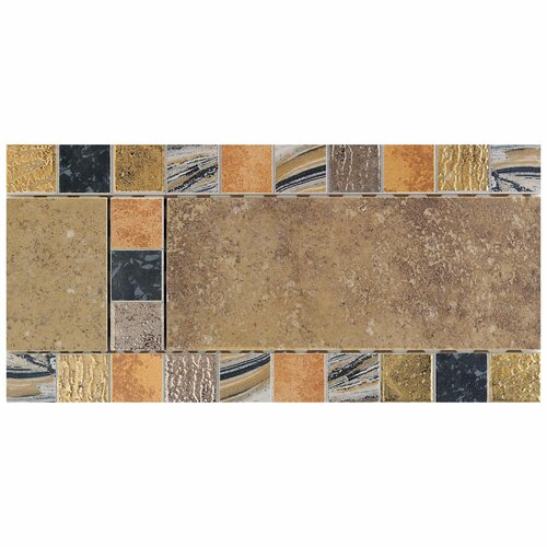 "Daltile Terra Antica 12"" x 6"" Decorative Accent Border in Oro"