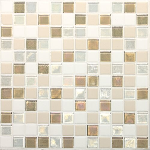 "Daltile Keystones Blends 1"" x 1"" Porcelain with Oceanside Glass Mosaic Tile in Coconut Beach"