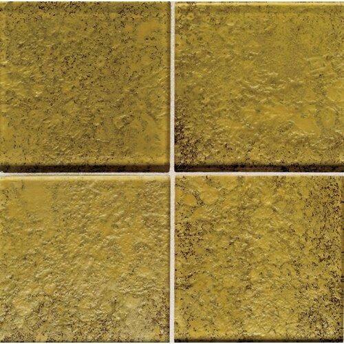 """Daltile Molten Glass 4 1/4"""" x 4 1/4"""" Multi-Colored Wall Tile in Gold Mine"""