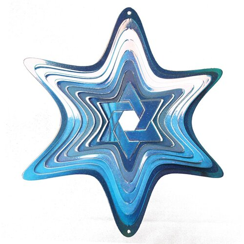 Iron Stop Light Blue Star of David Wind Spinner