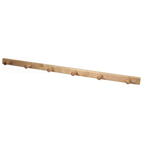 InterDesign Wall Mounted 6 Hook Wood Rack