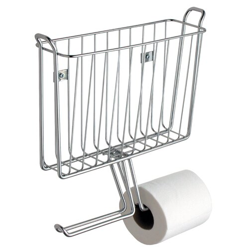 Interdesign classico wall mounted magazine rack and toilet paper holder reviews wayfair - Interdesign toilet paper holder ...