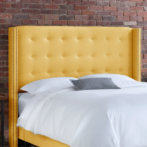 Skyline Furniture Linen Nail Button Tufted Upholstered Headboard
