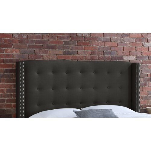 Skyline Furniture Button Tufted Linen Wingback Headboard