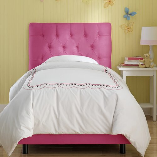 Tufted Micro-Suede Youth Bed in Hot Pink