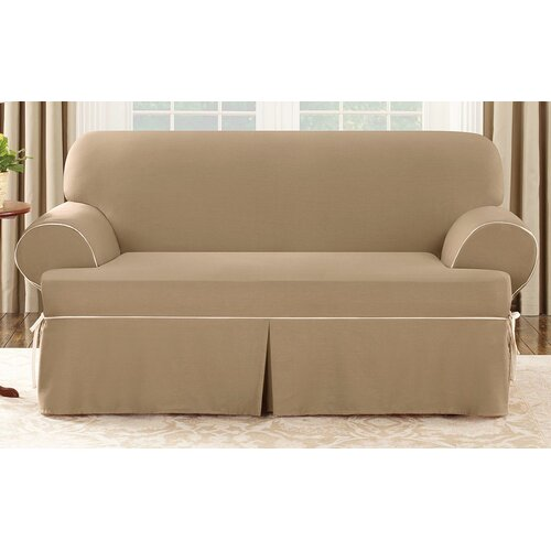 Sure-Fit Cotton Duck Loveseat T-Cushion Slipcover