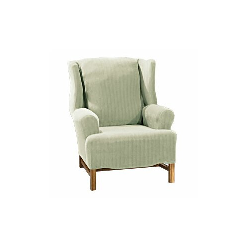 sure fit stretch pinstripe wing chair slipcover reviews