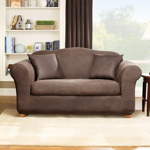 Sure-Fit Stretch Leather Two Piece Loveseat Slipcover