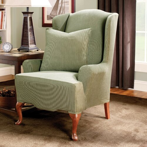 Sure Fit Stretch Stripe Wing Chair Slipcover Reviews Wayfair
