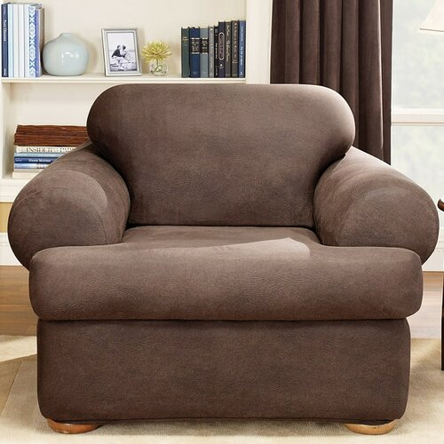 Sure-Fit Stretch Leather Two Piece Chair T-Cushion Slipcover