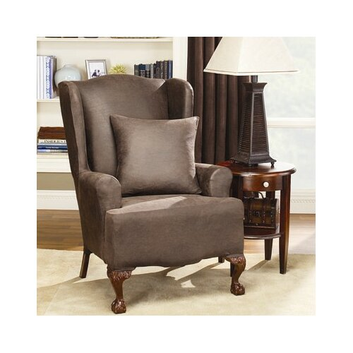 Sure-Fit Stretch Leather Wing Chair Slipcover