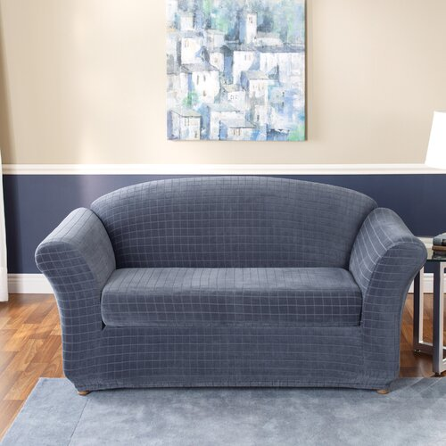Sure-Fit Stretch Squares Two Piece Loveseat Slipcover