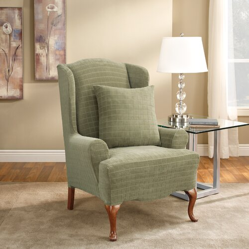 Stretch Squares Wing Chair Slipcover