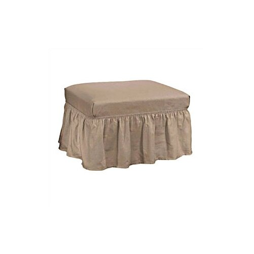 Sure-Fit Cotton Duck Ottoman Skirted Slipcover